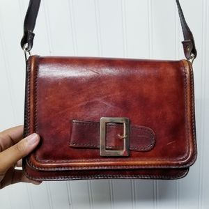 Vintage handmade leather crossbody purse